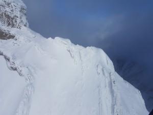 mountain ridge on helicopter tour