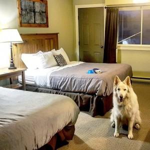 Mya in her hotel room