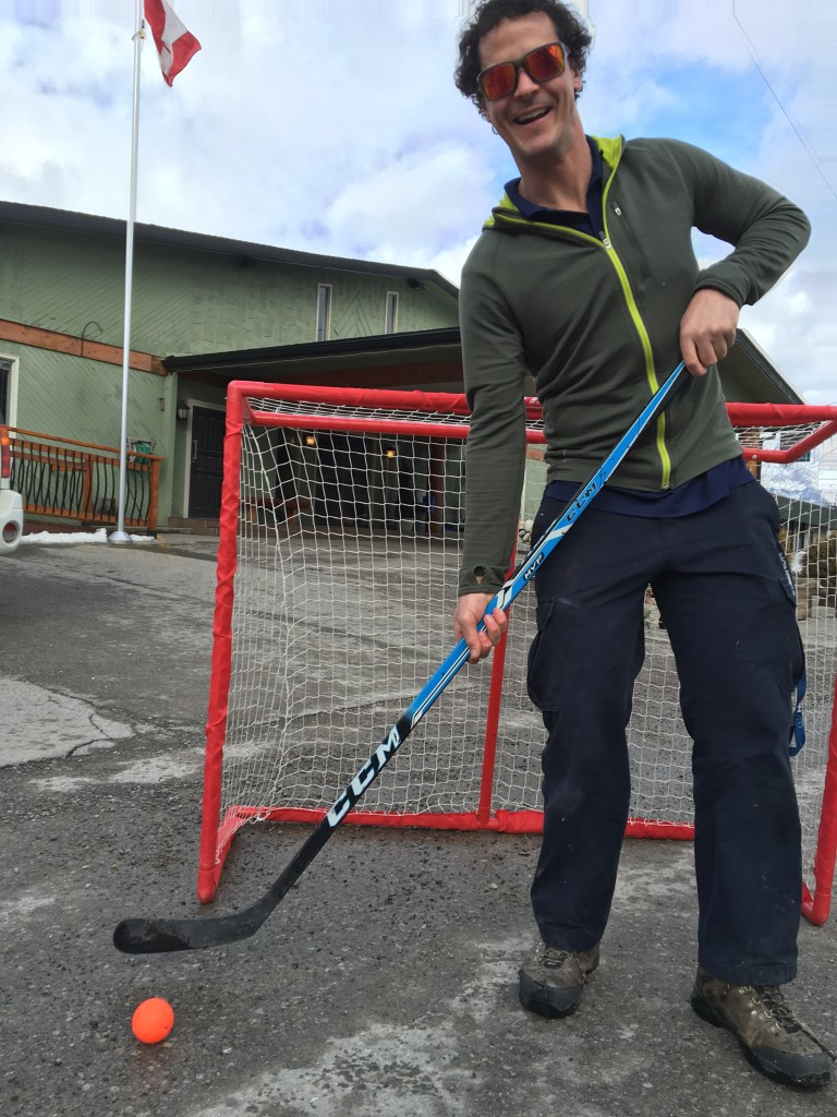 Road hockey at the Red Tree Lodge