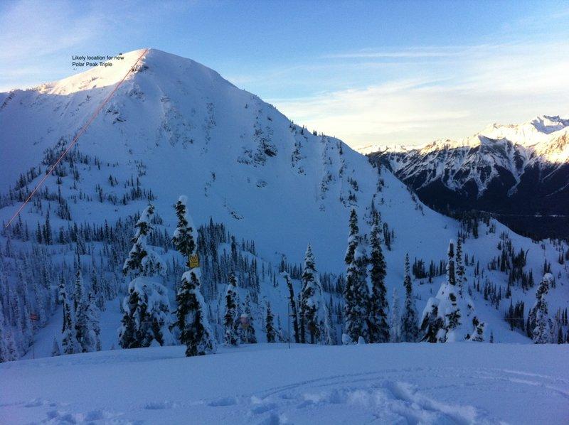 Polar Peak with new ski lift drawn in