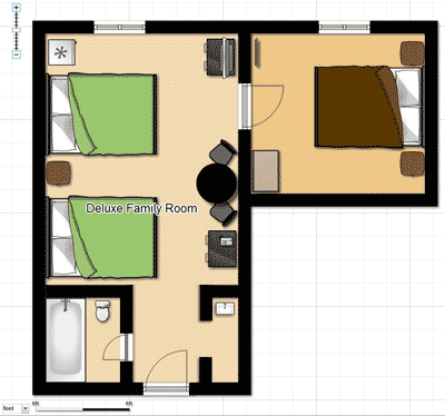 Deluxe Family Hotel Room Floorplan