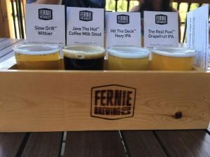 A flight of Fernie beers