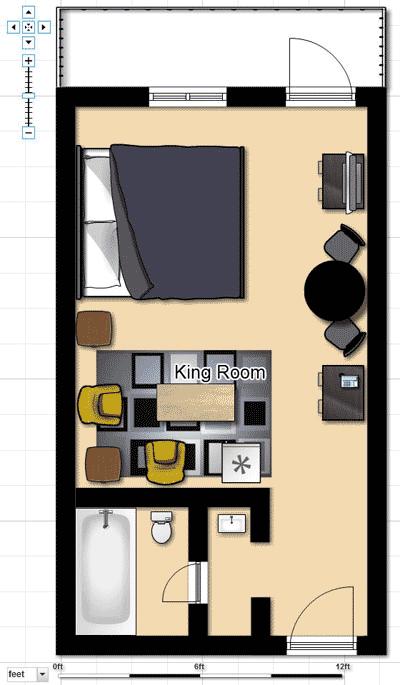 King Hotel Room Floorplan