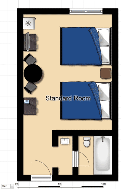 Standard Fernie Hotel Room Floorplan